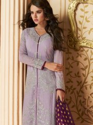 Pant Style Suit Resham Faux Georgette in Lavender