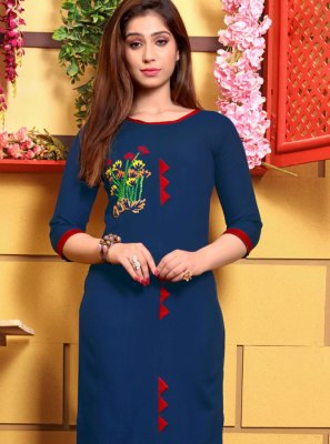 Party Wear Kurti Embroidered Cotton in Blue