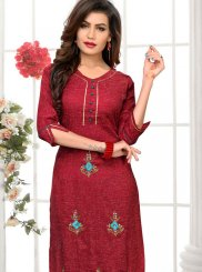 Party Wear Kurti Embroidered Cotton in Maroon