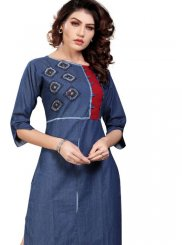 Party Wear Kurti Embroidered Denim in Blue