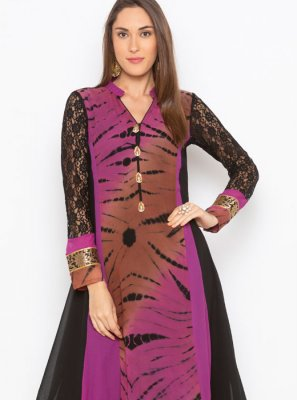 Party Wear Kurti Embroidered Faux Georgette in Black and Purple