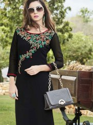 Party Wear Kurti Embroidered Georgette in Black