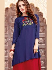 Party Wear Kurti Embroidered Georgette Satin in Blue