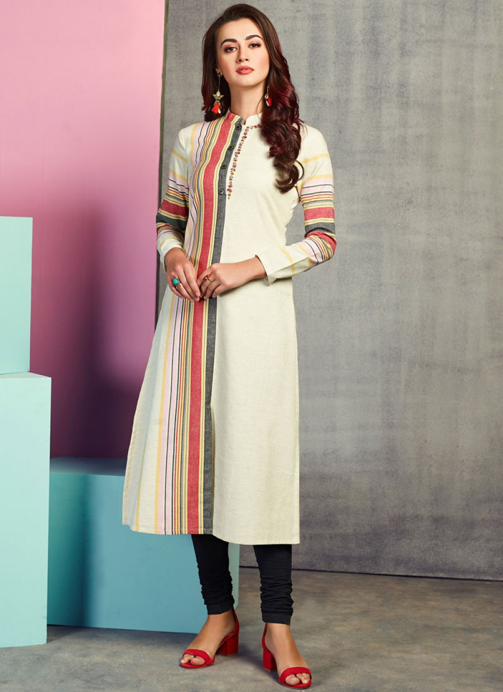 Party Wear Kurti Embroidered Handloom Cotton in White
