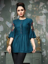 Party Wear Kurti Embroidered Rayon in Blue