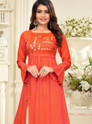 Party Wear Kurti Embroidered Rayon in Orange