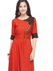 Party Wear Kurti Embroidered Rayon in Red