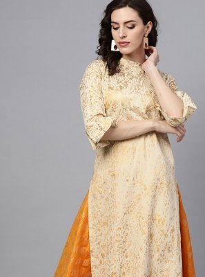 Party Wear Kurti Fancy Cotton in Beige
