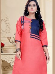 Party Wear Kurti Fancy Cotton in Peach