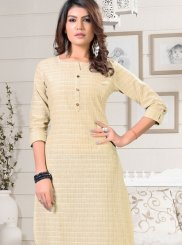 Party Wear Kurti Fancy Rayon in Beige