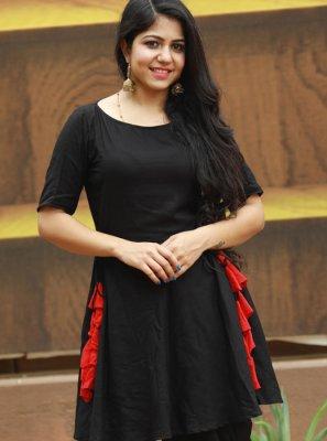 Party Wear Kurti Fancy Rayon in Black