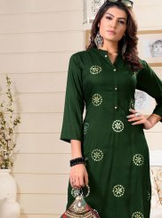 Party Wear Kurti Fancy Rayon in Green