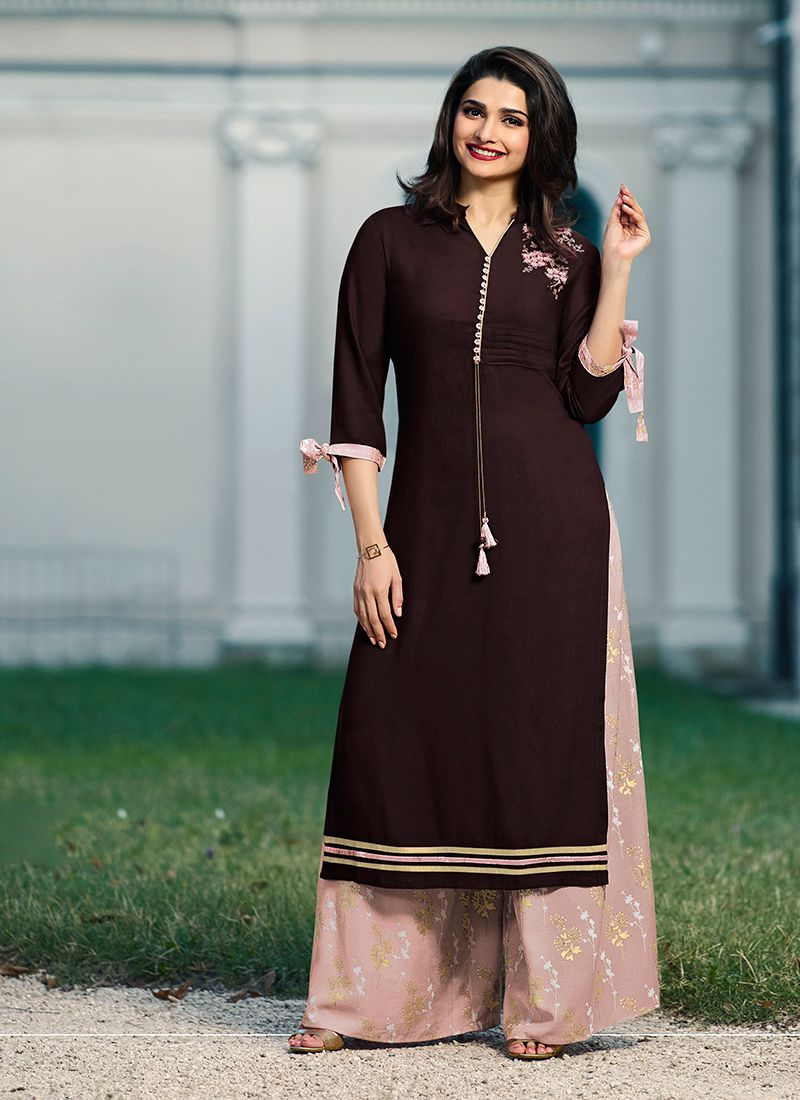 Party Wear Kurti Fancy Rayon in Wine