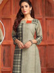 Party Wear Kurti Print Chanderi in Multi Colour