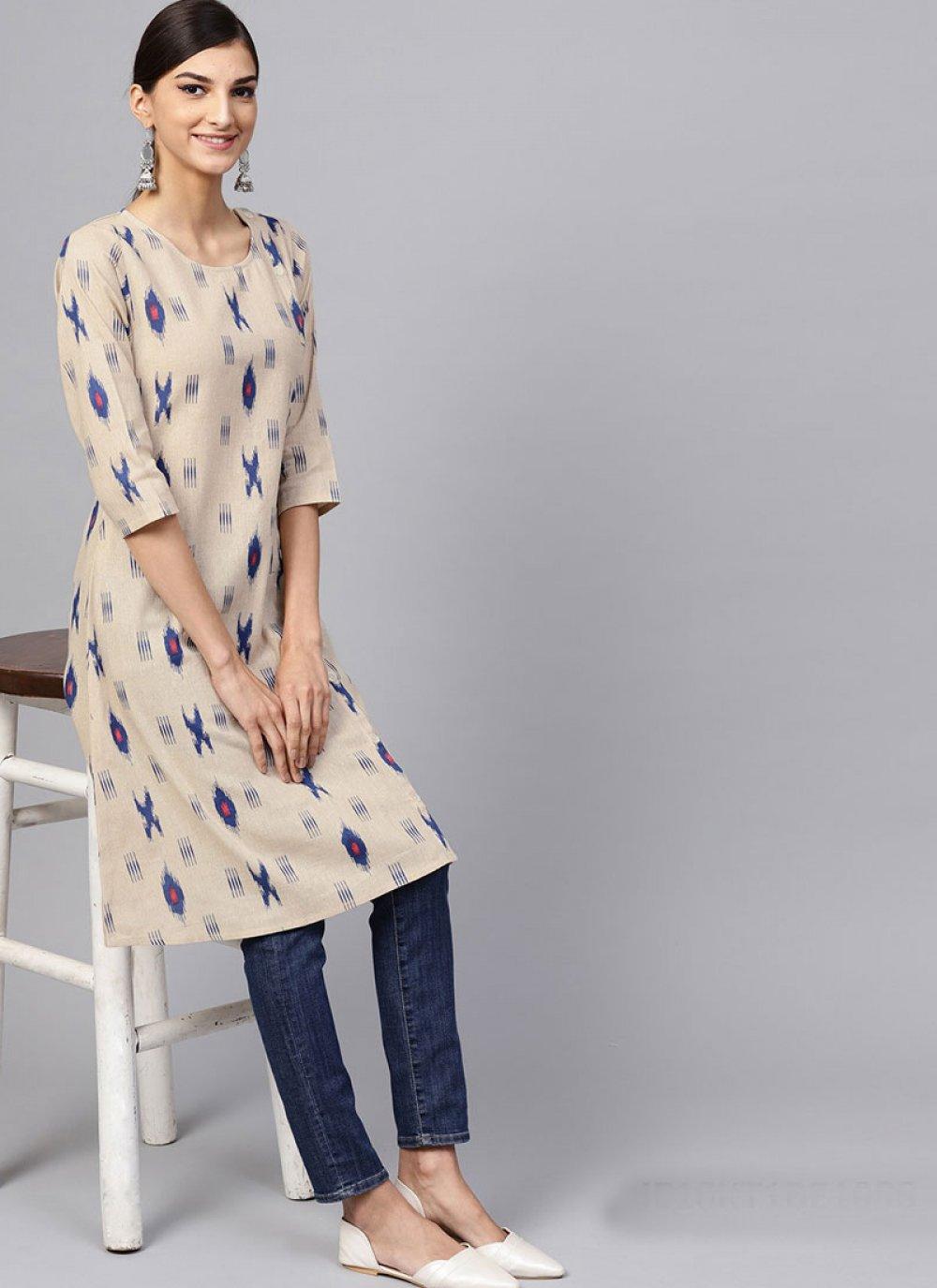 Party Wear Kurti Print Cotton in Beige