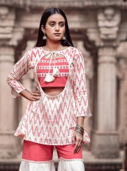 Party Wear Kurti Print Cotton in Pink