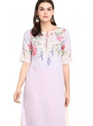 Party Wear Kurti Print Faux Crepe in Multi Colour