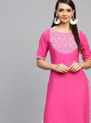Party Wear Kurti Print Faux Crepe in Pink