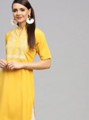 Party Wear Kurti Print Faux Crepe in Yellow