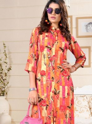 Party Wear Kurti Print Rayon in Multi Colour