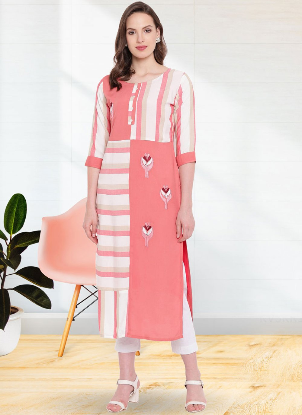 Party Wear Kurti Print Rayon in Pink