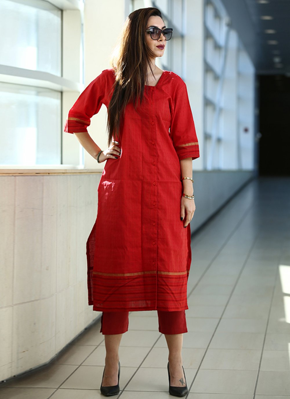 Party Wear Kurti Printed Art Silk in Red