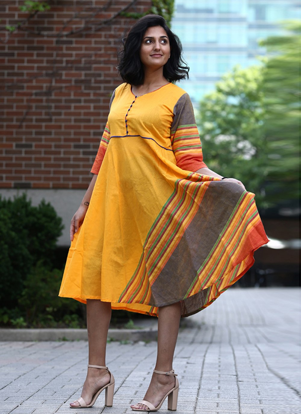 Party Wear Kurti Printed Cotton in Yellow