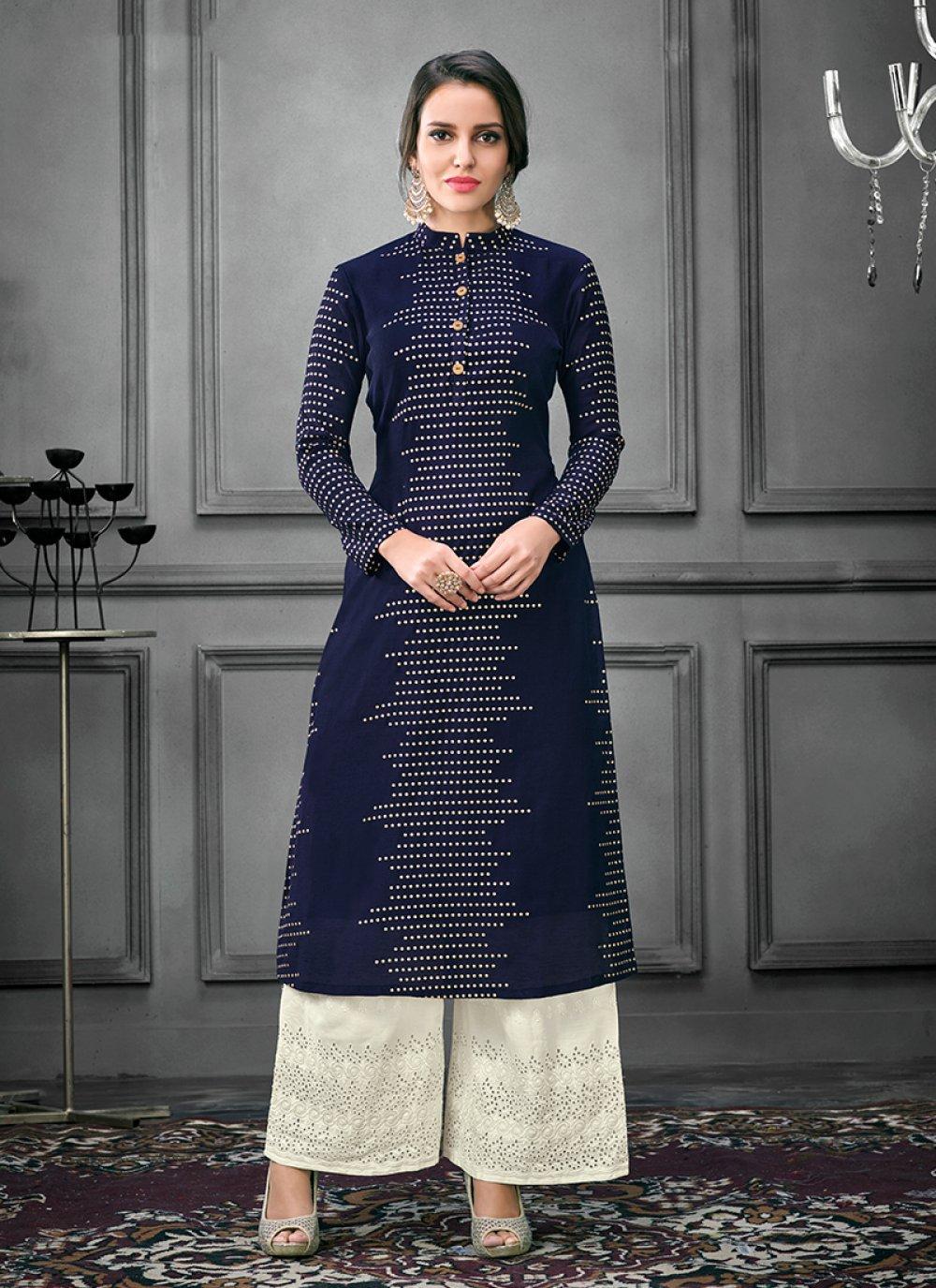 Party Wear Kurti Thread Art Silk in Navy Blue