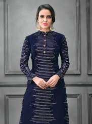 Party Wear Kurti Thread Art Silk in Navy Blue