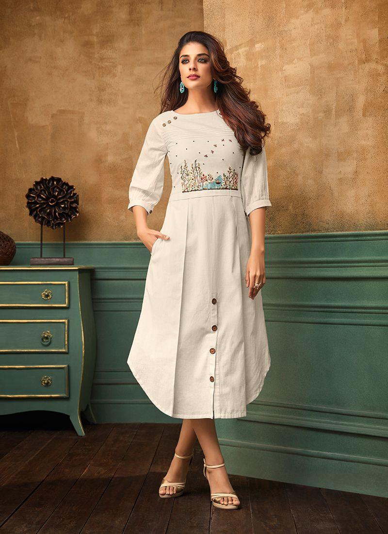 Party Wear Kurti Thread Work Cotton Satin in White