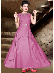 Partywear Pink Color Kids Gown