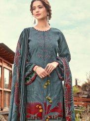 Pashmina Blue Print Designer Pakistani Suit