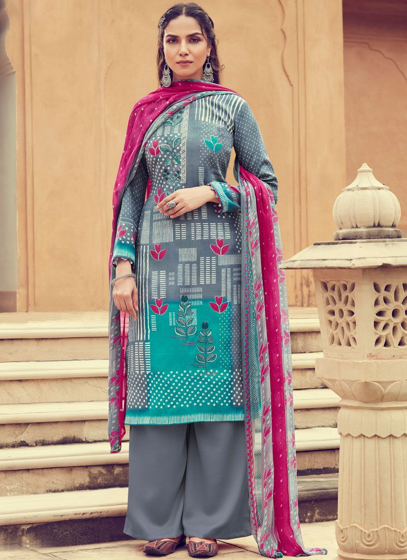 Pashmina Multi Colour Designer Palazzo Suit