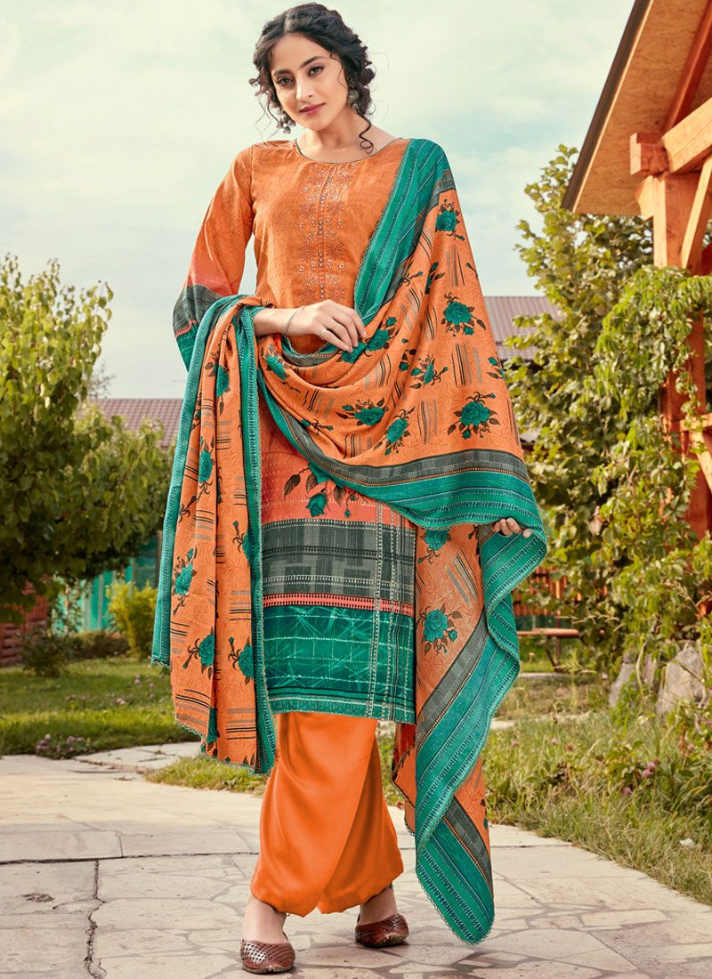 Pashmina Print Multi Colour Designer Pakistani Suit