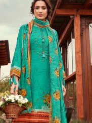 Pashmina Print Sea Green Designer Pakistani Suit