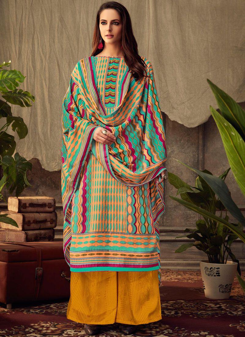 Pashmina Printed Trendy Palazzo Salwar Kameez