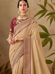 Patch Border Art Silk Beige Traditional Designer Saree