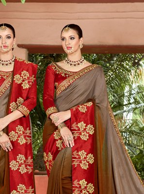 Patch Border Art Silk Brown and Grey Shaded Saree