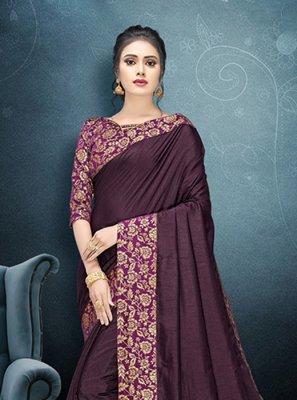 Patch Border Art Silk Classic Saree in Purple