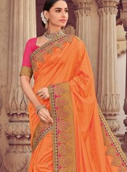 Patch Border Art Silk Designer Traditional Saree in Orange