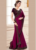 Patch Border Art Silk Designer Traditional Saree in Purple