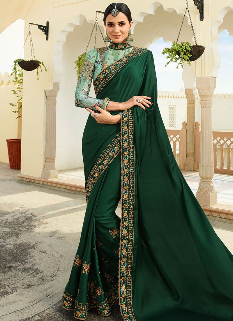 Patch Border Art Silk Green Designer Traditional Saree