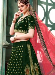Patch Border Art Silk Green Lehenga Choli