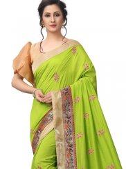 Patch Border Art Silk Green Traditional Saree