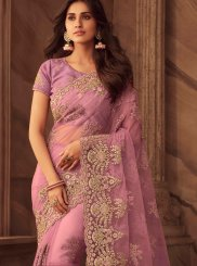 Patch Border Art Silk Lavender Designer Traditional Saree