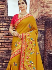 Patch Border Art Silk Mustard Designer Traditional Saree