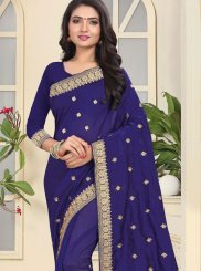 Patch Border Art Silk Navy Blue Traditional Saree