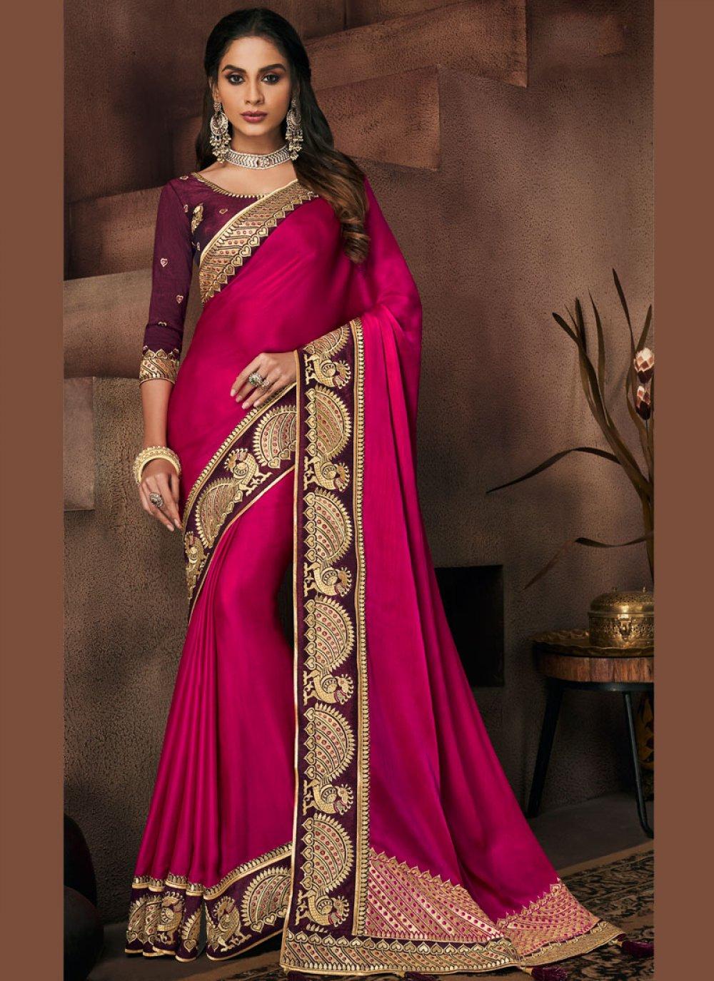 Patch Border Art Silk Rani Traditional Designer Saree