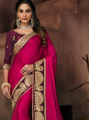 Patch Border Art Silk Rani Traditional Designer Saree