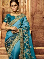 Patch Border Art Silk Shaded Saree in Blue